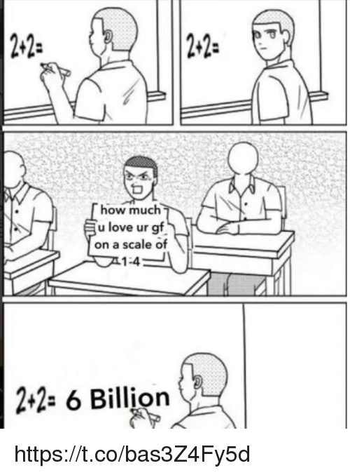 """Love, Memes, and 🤖: 22-  2-2- 2""""  how much  u love ur gf  on a scale of  1:4  t2- 6 Billion https://t.co/bas3Z4Fy5d"""