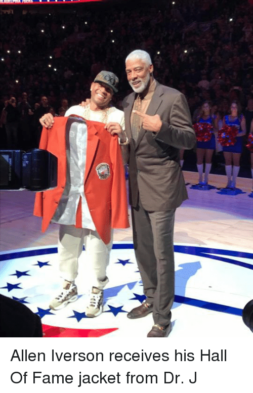 Allen Iverson, Memes, and Iverson: 22.  4t Allen Iverson receives his Hall Of Fame jacket from Dr. J