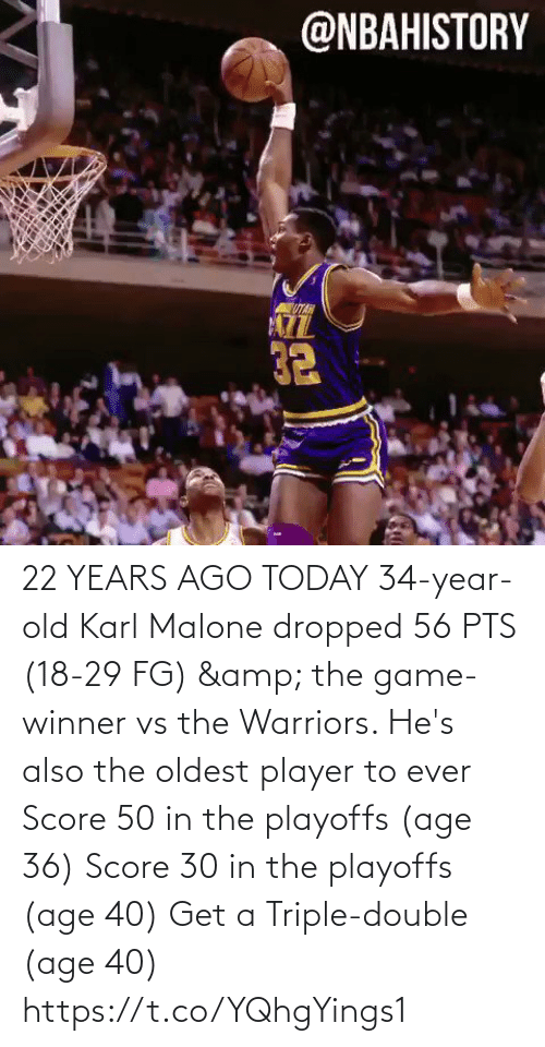 triple double: 22 YEARS AGO TODAY 34-year-old Karl Malone dropped 56 PTS (18-29 FG) & the game-winner vs the Warriors.   He's also the oldest player to ever Score 50 in the playoffs (age 36) Score 30 in the playoffs (age 40)  Get a Triple-double (age 40)  https://t.co/YQhgYings1