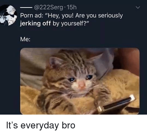 "Porn, Dank Memes, and You: @222Serg 15h  Porn ad: ""Hey, you Are you seriously  jerking off by yourself?""  Me: It's everyday bro"