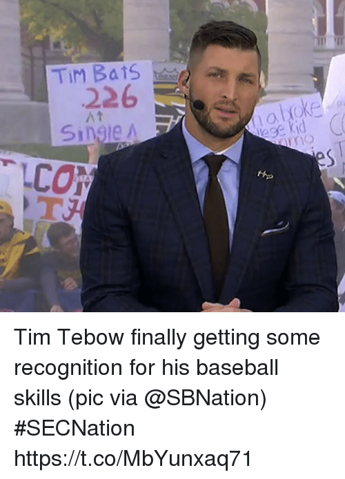 Baseball, Sports, and Tim Tebow: 226  At  Single A Tim Tebow finally getting some recognition for his baseball skills   (pic via @SBNation) #SECNation https://t.co/MbYunxaq71