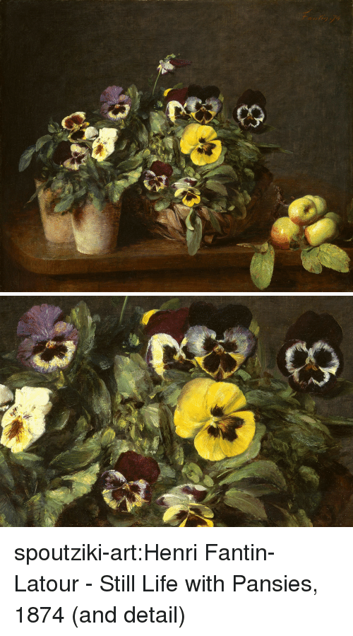henri: 227 spoutziki-art:Henri Fantin-Latour - Still Life with Pansies, 1874 (and detail)