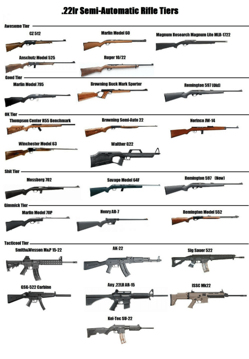 sig sauer: 22Ir Semi-Automatic Rifle Tiers  Awesome Tier  CZ 512  Marlin Model 60  Magnum Research Magnum Lite MLR-1722  Anschutz Model 525  Ruger 10/22  Good Tier  Marlin Model 795  Browning Buck Mark Sporter  Remington 597 (Old]  OK Tier  Thompson Center R55 Benchmark  Browning Semi-Auto 22  Norinco W-14  Winchester Model 63  Walther G22  Shit Tier  Mossberg 702  Savage Model 64F  Remington 597 [New]  Gimmick Tier  Marlin Model 70P  Henry AR-7  Remington Model 552  Tacticool Tier  Smith&Wesson M&P 15-22  AK-22  Sig Sauer 522  GSG-522 Carbine  Any.22LR AR-15  ISSC MK22  Kel-Tec SU-22