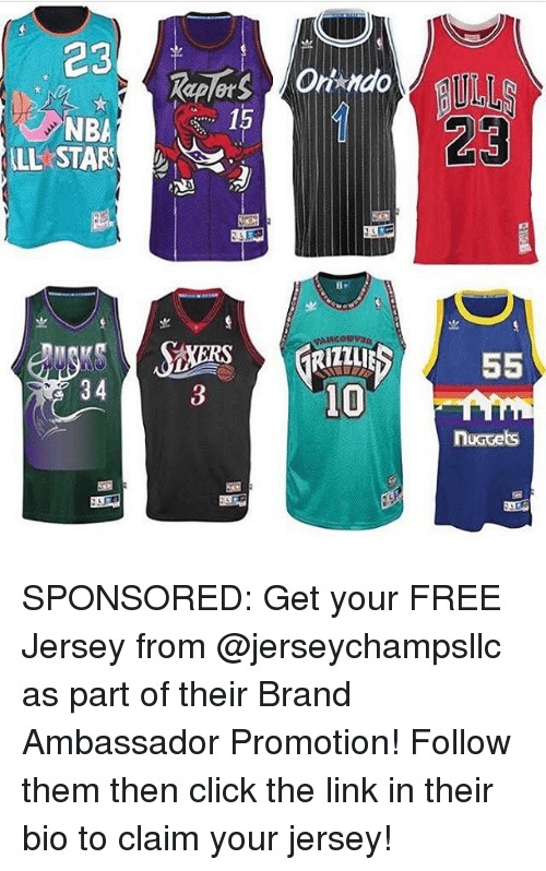 Click, Memes, and Nba: 23  15  NBA  LL STAR  23  iZz  34  3  nuccets SPONSORED: Get your FREE Jersey from @jerseychampsllc as part of their Brand Ambassador Promotion! Follow them then click the link in their bio to claim your jersey!
