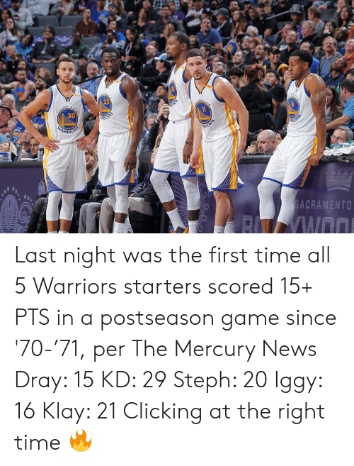 arr: 23  30  ARR  SACRAMENTO Last night was the first time all 5 Warriors starters scored 15+ PTS in a postseason game since '70-'71, per The Mercury News  Dray: 15 KD: 29 Steph: 20 Iggy: 16 Klay: 21  Clicking at the right time 🔥