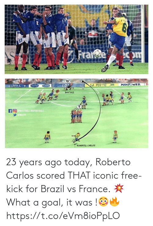 kick: 23 years ago today, Roberto Carlos scored THAT iconic free-kick for Brazil vs France. 💥 What a goal, it was !😳🔥 https://t.co/eVm8ioPpLO