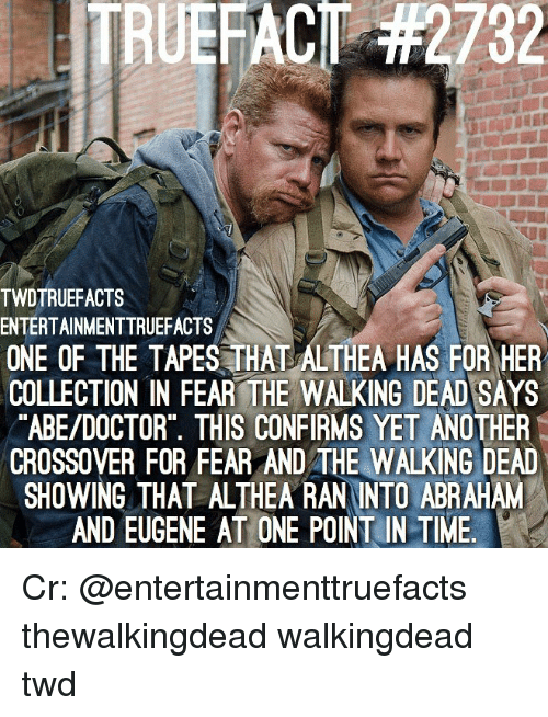 Fear The Walking Dead: 232  TWDTRUEFACTS  ENTERTAINMENTTRUEFACTS  ONE OF THE TAPES THAT ALTHEA HAS FOR HER  COLLECTION IN FEAR THE WALKING DEAD SAYS  ABE/DOCTOR THIS CONFIRMS YET ANOTHER  CROSSOVER FOR FEAR AND THE WALKING DEAD  SHOWING THAT ALTHEA RAN INTO ABRAHAM  AND EUGENE AT ONE POINT IN TIME. Cr: @entertainmenttruefacts thewalkingdead walkingdead twd
