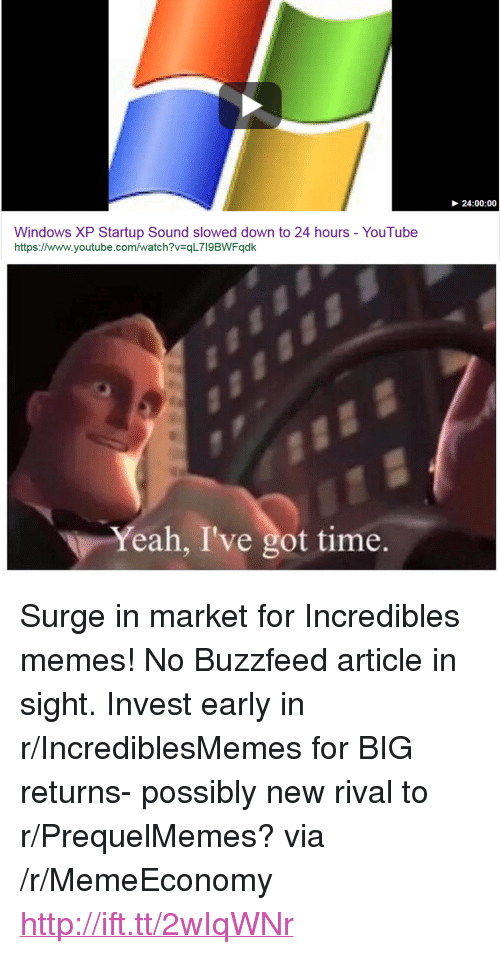 """Prequelmemes: 24:00:00  Windows XP Startup Sound slowed down to 24 hours - YouTube  https://www.youtube.com/watch?v=qL7l9BWFqdk  Yeah, I've got time. <p>Surge in market for Incredibles memes! No Buzzfeed article in sight. Invest early in r/IncrediblesMemes for BIG returns- possibly new rival to r/PrequelMemes? via /r/MemeEconomy <a href=""""http://ift.tt/2wIqWNr"""">http://ift.tt/2wIqWNr</a></p>"""