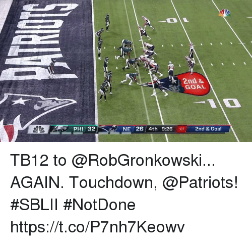 Memes, Patriotic, and Goal: 24  2nd &  GOAL  AIO  PHI 32  NE 26 4th 9:26 :07 2nd & Goal TB12 to @RobGronkowski...  AGAIN.  Touchdown, @Patriots! #SBLII #NotDone https://t.co/P7nh7Keowv
