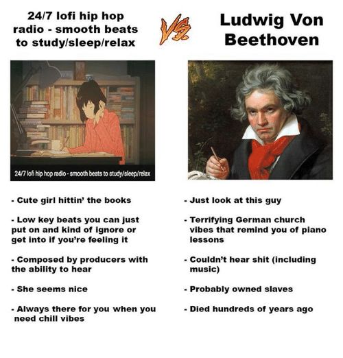 Books, Chill, and Church: 24/7 lofi hip hop  radio smooth beats  to studylsleep/relax  Ludwig Von  Beethoven  24/7 lofi hip hop radio smooth beats to study/sleep/relax  - Cute girl hittin' the books  - Just look at this guy  Low key beats you can just  put on and kind of ignore or  get into if you're feeling it  - Terrifying German church  vibes that remind you of piano  lessons  Composed by producers with  Couldn't hear shit (including  music)  the ability to hear  She seems nice  - Always there for you when you  - Probably owned slaves  - Died hundreds of years ago  need chill vibes