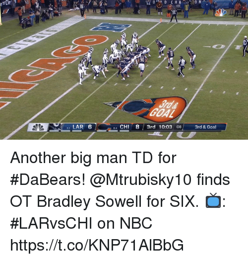 big man: 24  LAR 6  4 CHI 8 3rd 10:03 08 3rd & Goal  8-4 Another big man TD for #DaBears!  @Mtrubisky10 finds OT Bradley Sowell for SIX.  📺: #LARvsCHI on NBC https://t.co/KNP71AlBbG