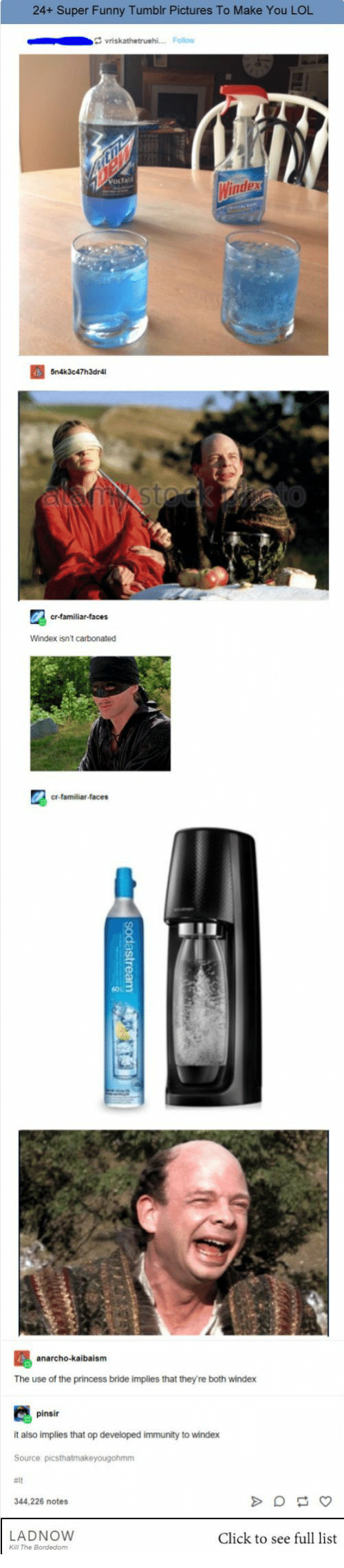 Anarcho: 24+ Super Funny Tumblr Pictures To Make You LOL  Windex isnt carbonated  cr-familiar-faces  anarcho-kaibaism  The use of the princess bride implies that they're both windex  pinsir  it also implies that op developed immunity to windex  344,226 notes  LADNOWw  Click to see full list  Kall The Bordedom