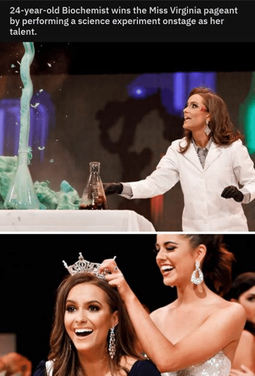 experiment: 24-year-old Biochemist wins the Miss Virginia pageant  by performing a science experiment onstage as her  talent  4252