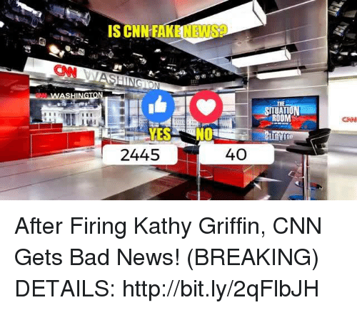 Kathy Griffin: 2445  40  ROOM  CNN After Firing Kathy Griffin, CNN Gets Bad News! (BREAKING)  DETAILS: http://bit.ly/2qFlbJH