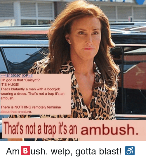 "Gotta Blast: 248 139397 (OP) #  Oh god is that ""Caitlyn""?  IT'S HUGE!  That's blatantly a man with a boobjob  wearing a dress. That's not a trap it's an  ambush  There is NOTHING remotely feminine  about that creature.  That's not a tap its an ambush <p>Am🅱️ush. welp, gotta blast! ♿️</p>"
