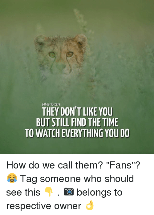 "Memes, Time, and Tag Someone: 24hoursuccess  THEY DON'T LIKE YOU  BUT STILL FIND THE TIME  TO WATCHEVERYTHING YOU DO How do we call them? ""Fans""?😂 Tag someone who should see this 👇 . 📷 belongs to respective owner 👌"