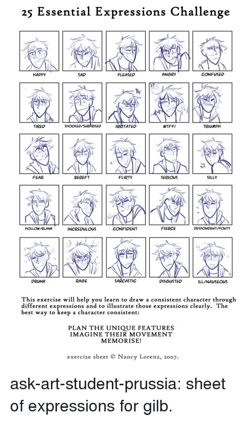 Happy Sad: 25 Essential Expressions Challenge  HAPpy  SAD  PLEASED  ANGRY  CONFUSED  TIRED  SHOCKED/SURPRISED  IRRITATED  WTF2!  TRIUMPH  FEAR  BEREFT  FLIRTY  SERIOUS  SILLY  OLLOW/BLANK  INCREDuLOUS  CONFIDENT  FIERCE  DESPONDENT/POUTY  DRUNK  RAGE  SARCASTIC  DISGUSTED  ILL/NAuSEOUS  This exercise will help you learn to draw a consistent character through  different expressions and to illustrate those expressions clearly. The  best way to keep a character  consistent:  PLAN THE ỦNIQŪE FEATŪRES  IMAGINE THEIR MOVEMENT  MEMORISE!  exercise sheet © Nancy Lorenz, 2007. ask-art-student-prussia:  sheet of expressions for gilb.