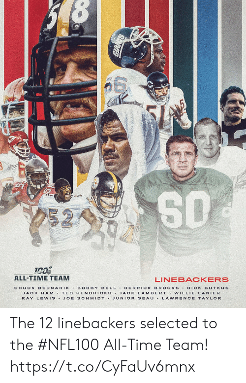 chuck: 252  ALL-TIME TEAM  LINEBACKERS  BELL DERRICK BR OOKS  CHUCK BEDNARIK  BOBBY  DICK BUTKUS  JACK H AM T ED HENDRICKS JACK LAMBERT Vw ILLIE LANIER  JUNIOR SEAU  RAY LEWIS.  JOE SCHMIDT .  LAWRENCE TAYLOR The 12 linebackers selected to the #NFL100 All-Time Team! https://t.co/CyFaUv6mnx