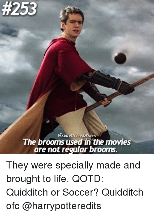 Life, Memes, and Movies:  #253  The brooms used in the movies  are not regular brooms. They were specially made and brought to life. QOTD: Quidditch or Soccer? Quidditch ofc @harrypotteredits