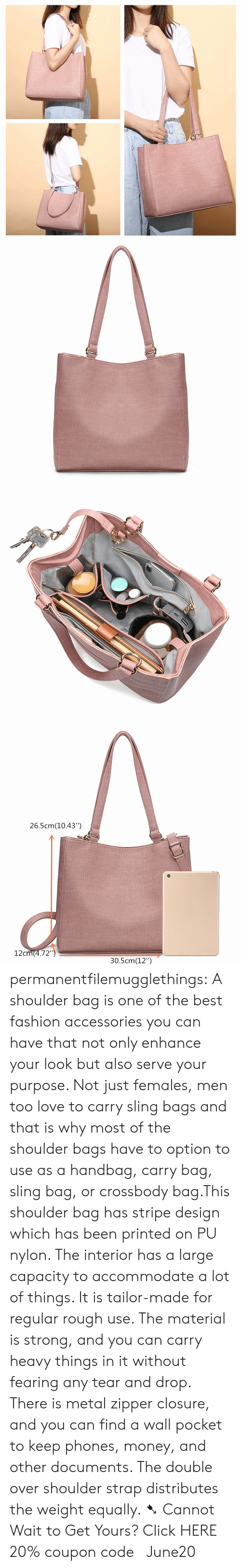 """handbag: 26.5cm(10.43"""")  12cm(4.72"""")  30.5cm(12"""") permanentfilemugglethings: A shoulder bag is one of the best fashion accessories you can have that not only enhance your look but also serve your purpose. Not just females, men too love to carry sling bags and that is why most of the shoulder bags have to option to use as a handbag, carry bag, sling bag, or crossbody bag.This shoulder bag has stripe design which has been printed on PU nylon. The interior has a large capacity to accommodate a lot of things. It is tailor-made for regular rough use. The material is strong, and you can carry heavy things in it without fearing any tear and drop. There is metal zipper closure, and you can find a wall pocket to keep phones, money, and other documents. The double over shoulder strap distributes the weight equally. ➷ Cannot Wait to Get Yours? Click HERE 20% coupon code: June20"""