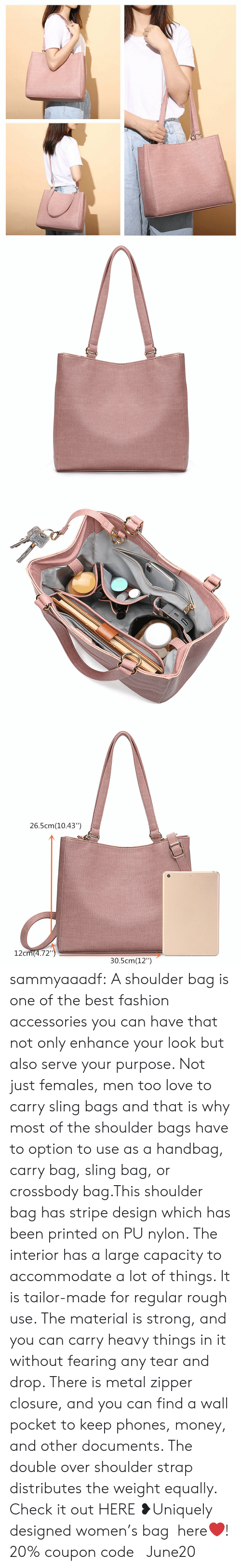 """handbag: 26.5cm(10.43"""")  12cm(4.72"""")  30.5cm(12"""") sammyaaadf: A shoulder bag is one of the best fashion accessories you can have that not only enhance your look but also serve your purpose. Not just females, men too love to carry sling bags and that is why most of the shoulder bags have to option to use as a handbag, carry bag, sling bag, or crossbody bag.This shoulder bag has stripe design which has been printed on PU nylon. The interior has a large capacity to accommodate a lot of things. It is tailor-made for regular rough use. The material is strong, and you can carry heavy things in it without fearing any tear and drop. There is metal zipper closure, and you can find a wall pocket to keep phones, money, and other documents. The double over shoulder strap distributes the weight equally.  Check it out HERE ❥Uniquely designed women's bag here❤! 20% coupon code: June20"""