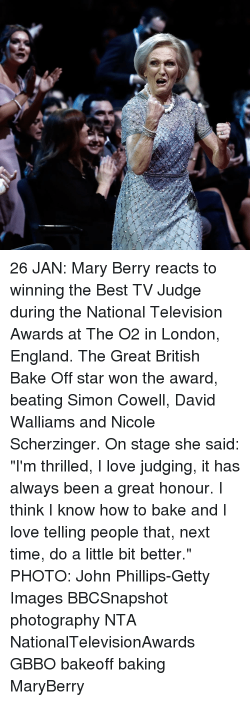 """Baked, England, and Memes: 26 JAN: Mary Berry reacts to winning the Best TV Judge during the National Television Awards at The O2 in London, England. The Great British Bake Off star won the award, beating Simon Cowell, David Walliams and Nicole Scherzinger. On stage she said: """"I'm thrilled, I love judging, it has always been a great honour. I think I know how to bake and I love telling people that, next time, do a little bit better."""" PHOTO: John Phillips-Getty Images BBCSnapshot photography NTA NationalTelevisionAwards GBBO bakeoff baking MaryBerry"""