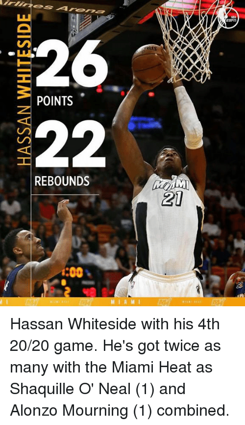 Memes, Miami Heat, and Heat: 26  POINTS  22  REBOUNDS  i:00  M I A M I  AXXO  21 Hassan Whiteside with his 4th 20/20 game.  He's got twice as many with the Miami Heat as Shaquille O' Neal (1) and Alonzo Mourning (1) combined.
