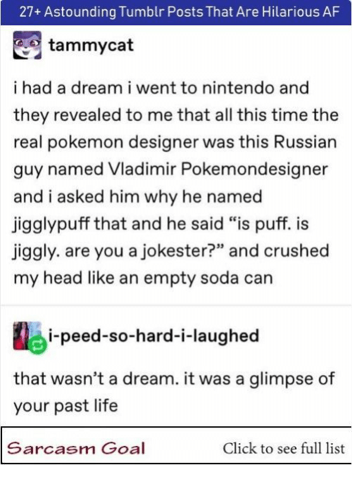 """crushed: 27+ Astounding Tumblr Posts That Are Hilarious AF  tammycat  ihad a dream i went to nintendo and  they revealed to me that all this time the  real pokemon designer was this Russian  guy named Vladimir Pokemondesigner  and i asked him why he named  jigglypuff that and he said """"is puff. i  jiggly. are you a jokester?"""" and crushed  my head like an empty soda can  i-peed-so-hard-i-laughed  that wasn't a dream. it was a glimpse of  your past life  Sarcasm Goal  Click to see full list"""