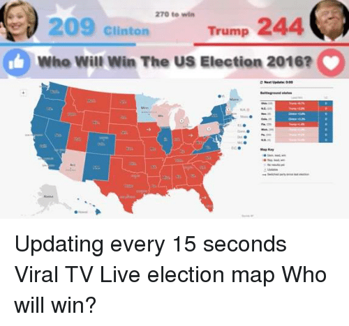 Memes Live And Maps 270 To Win Trump 244 209 Clinton L Who