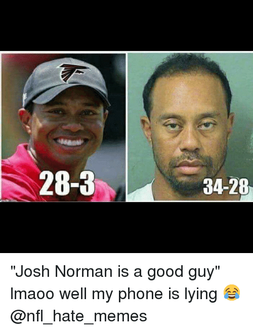 "Josh Norman, Memes, and Nfl: 28-3  34-28 ""Josh Norman is a good guy"" lmaoo well my phone is lying 😂 @nfl_hate_memes"