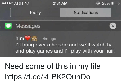 Life, At&t, and Games: 28%  AT&T  2:31 AM  o Today  Notifications  Messages  him  4m ago  I'll bring over a hoodie and we'll watch tv  and play games and I'll play with your hair. Need some of this in my life https://t.co/kLPK2QuhDo