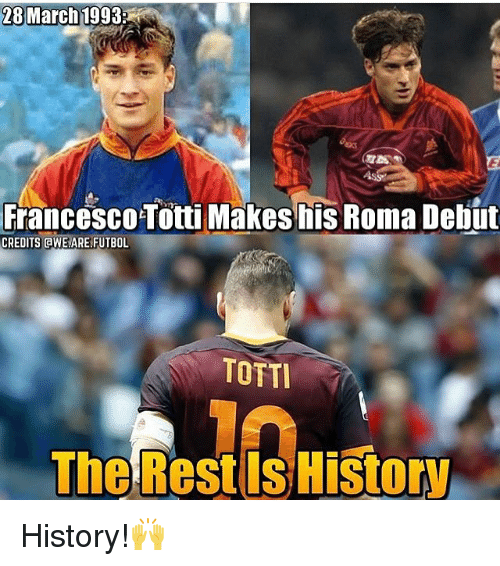 awe: 28 March 1993  Francesco Totti Makes his Roma Debut  CREDITS AWE ARE FUTBOL  TOTTI  The Rest History History!🙌