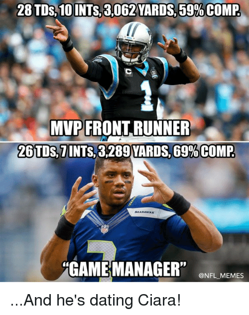 """Front Runners: 28 TDs 10 INTS,8,062 YARDS,59%COMP  MVP FRONT RUNNER  26 TDS, TINTS 3289 YARDS, 69%COMP  GAME MANAGER"""" @NFL MEMES ...And he's dating Ciara!"""