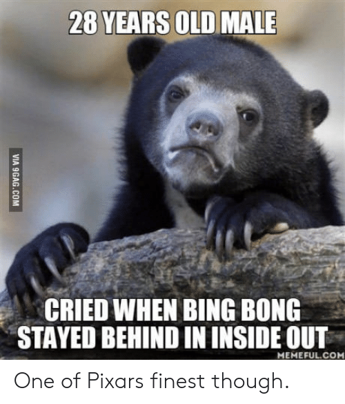 bing bong: 28 YEARS OLD MALE  CRIED WHEN BING BONG  STAYED BEHIND IN INSIDE OUT  MEMEFUL.COM One of Pixars finest though.
