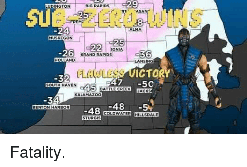 fatality: 29  NTASAN  UDINGTON  IG RAPIDS  SUB-ZERO WINS  8  -24  MUSKEGON  ALMA  ONIA  -26  GRAND RAPIDs  HOLLAND  LANSING  RLAWLASE ET  ICTO  -32  OUTH HAVEN  47 -50  JACKS  BATTLE CREEK  KALAMAZOO  -48-5%  BENTON HARBOR  BE48 COLDWATER HILLSDALE  STURGIS Fatality.