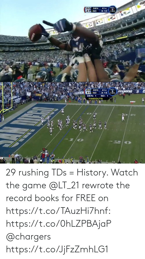 tds: 29 rushing TDs = History.   Watch the game @LT_21 rewrote the record books for FREE on https://t.co/TAuzHi7hnf: https://t.co/0hLZPBAjaP @chargers https://t.co/JjFzZmhLG1