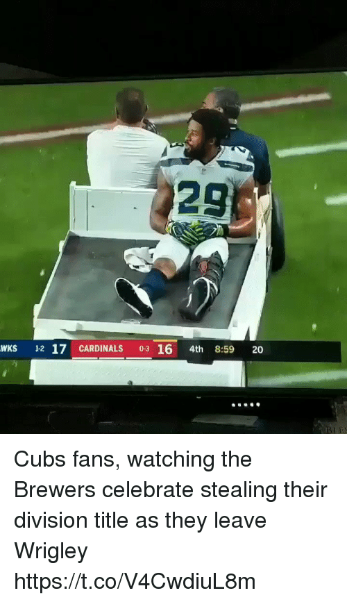Wrigley: 29  WKS 12 17 CARDINALS 03 16 4th 8:59 20 Cubs fans, watching the Brewers celebrate stealing their division title as they leave Wrigley https://t.co/V4CwdiuL8m