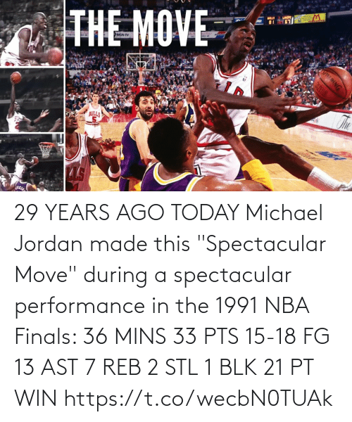 """Mins: 29 YEARS AGO TODAY Michael Jordan made this """"Spectacular Move"""" during a spectacular performance in the 1991 NBA Finals:   36 MINS 33 PTS 15-18 FG 13 AST 7 REB 2 STL 1 BLK 21 PT WIN https://t.co/wecbN0TUAk"""