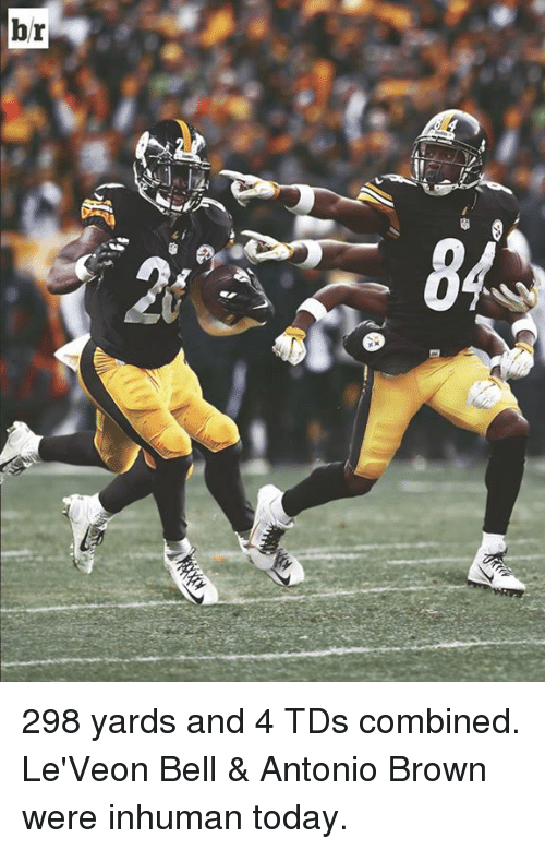 leveon bell: 298 yards and 4 TDs combined. Le'Veon Bell & Antonio Brown were inhuman today.