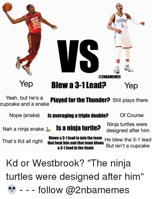 """the ninja: @2NBAMEMES  Yep  Blew a 3-1 Lead  Yep  Yeah, but he's a  Played for the Thunder? Still plays there  cupcake and a snake  Nope (snake) is averaging atriple double Of Course  Ninja turtles were  Nah a ninja snake  2. Is a ninja turtle  designed after him  That's Kd Blows a 3-1leadto join the team He blew the 3-1 lead  all right  that beat him and that team blows  But isn't a cupcake  a 3-1 lead in the finals Kd or Westbrook? """"The ninja turtles were designed after him""""💀 - - - follow @2nbamemes"""