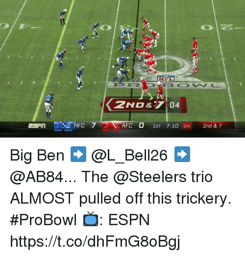 Espn, Memes, and Steelers: 2ND&04  NFC 7  AFC O 1ST 7:10 04 2nd & 7 Big Ben ➡️ @L_Bell26 ➡️ @AB84...  The @Steelers trio ALMOST pulled off this trickery. #ProBowl  📺: ESPN https://t.co/dhFmG8oBgj