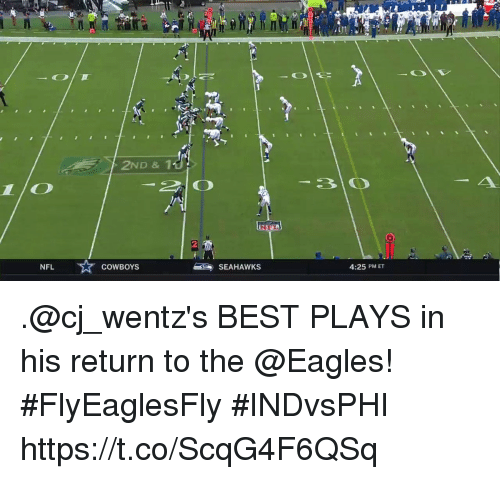 Dallas Cowboys, Philadelphia Eagles, and Memes: 2ND & 1  NFL  COWBOYS  SEAHAWKS  4:25 PM ET .@cj_wentz's BEST PLAYS in his return to the @Eagles! #FlyEaglesFly  #INDvsPHI https://t.co/ScqG4F6QSq