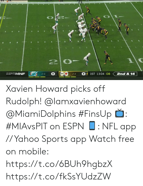 Howard: 2nd &14  ESFTMNF  1ST 13:04 08  0-6  2-4 Xavien Howard picks off Rudolph! @Iamxavienhoward @MiamiDolphins #FinsUp  📺: #MIAvsPIT on ESPN 📱: NFL app // Yahoo Sports app Watch free on mobile: https://t.co/6BUh9hgbzX https://t.co/fkSsYUdzZW