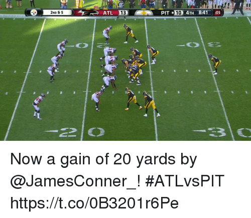 Pits: 2ND & 5  PIT 10 4TH 8:41:05 Now a gain of 20 yards by @JamesConner_! #ATLvsPIT https://t.co/0B3201r6Pe