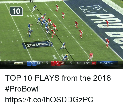 Memes, Goal, and 🤖: 2ND&GOAL  NFC O AFC O 1ST 7:56 09 2nd & Goal TOP 10 PLAYS from the 2018 #ProBowl! https://t.co/lhOSDDGzPC