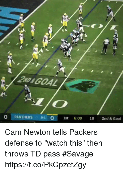 "Cam Newton, Football, and Nfl: 2ND& GOAL  O PANTHERS 94  1st 6:09 18 2nd & Goal Cam Newton tells Packers defense to ""watch this"" then throws TD pass #Savage  https://t.co/PkCpzcfZgy"