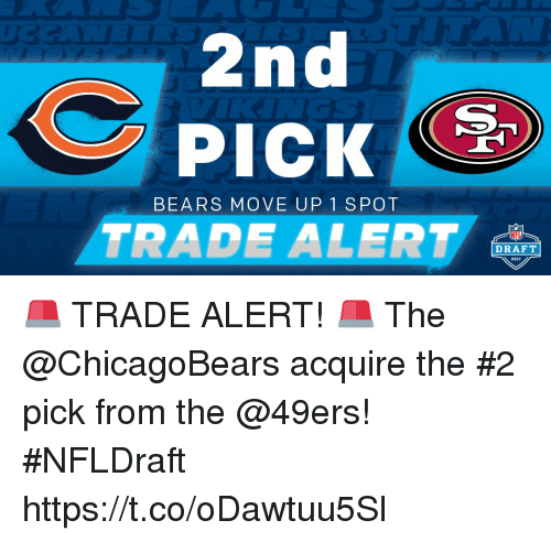 San Francisco 49ers, Memes, and Nfl: 2nd  PICK  BEARS MOVE UP 1 SPOT  TRADE ALERT  NFL  DRAFT 🚨 TRADE ALERT! 🚨  The @ChicagoBears acquire the #2 pick from the @49ers! #NFLDraft https://t.co/oDawtuu5Sl