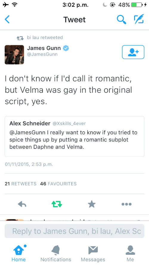 Home, Yes, and Gay: 3:02 p.m.  48%10,  Tweet  ta bi lau retweeted  James Gunn Ф  @JamesGunn  I don't know if I'd call it romantic,  but Velma was gay in the original  script, yes.  Alex Schneider @Xskills_4ever  @JamesGunn I really want to know if you tried to  spice things up by putting a romantic subplot  between Daphne and Velma.  01/11/2015, 2:53 p.m  21 RETWEETS 46 FAVOURITES  Reply to James Gunn, bi lau, Alex Sc  Home  Notifications Messages  Me