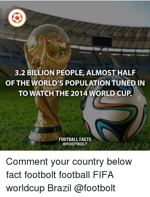 Worldcup: 3.2 BILLION PEOPLE, ALMOST HALF  OF THE WORLD'S POPULATION TUNED IN  TO WATCH THE 2014 WORLD CUP  FOOTBALL FACTS  @FOOTBOLT Comment your country below fact footbolt football FIFA worldcup Brazil @footbolt