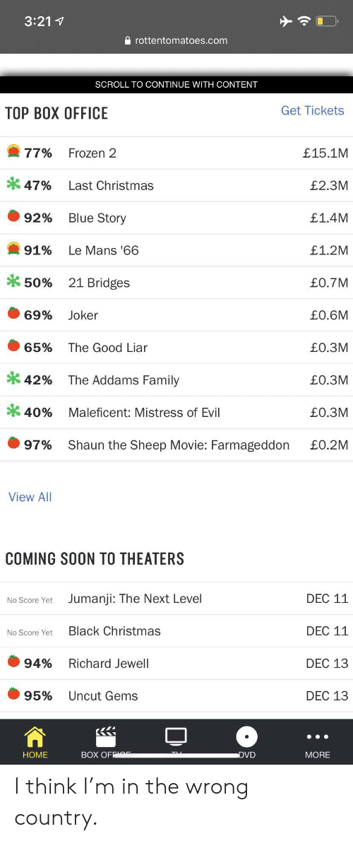 the addams family: 3:211  rottentomatoes.com  SCROLL TO CONTINUE WITH CONTENT  Get Tickets  ТОР ВОХ ОFFIСE  77%  Frozen 2  £15.1M  47%  Last Christmas  £2.3M  Blue Story  £1.4M  92%  91%  £1.2M  Le Mans '66  21 Bridges  £0.7M  50%  69%  £0.6M  Joker  65%  The Good Liar  £O.3M  The Addams Family  42%  £0.3M  40%  £0.3M  Maleficent: Mistress of Evil  97%  Shaun the Sheep Movie: Farmageddon  £0.2M  View All  COMING SOON TO THEATERS  DEC 11  Jumanji: The Next Level  No Score Yet  Black Christmas  DEC 11  No Score Yet  94%  DEC 13  Richard Jewell  95%  Uncut Gems  DEC 13  BOX OFF  HOME  DVD  MORE I think I'm in the wrong country.